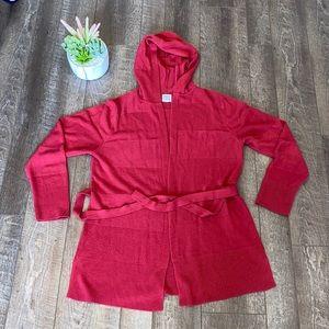 Carol Rose Red stripe hooded belted cardigan sz XL